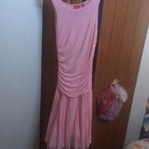 Pink tiered long flowy dress
